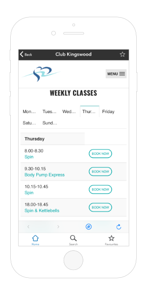 Club Kingswood Gym App Book a Class